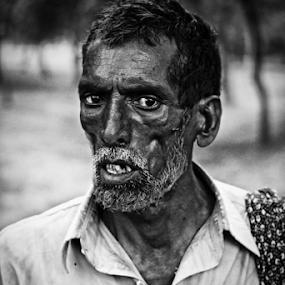 A Old Man by Arslan Mughal - People Portraits of Men ( blackandwhite, teeth, labour, portrait, , Emotion, human, people )