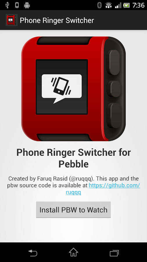 Pebble Phone Ringer Switcher- screenshot