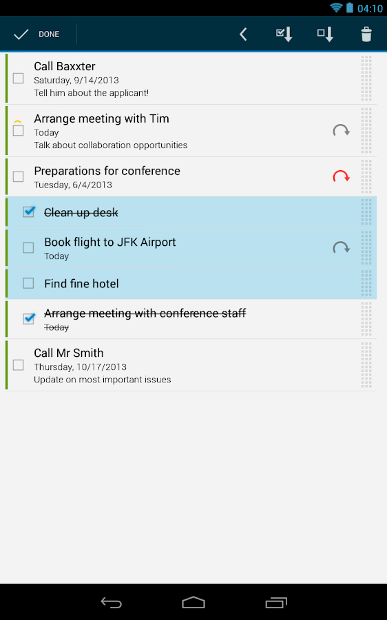 Business Tasks - screenshot