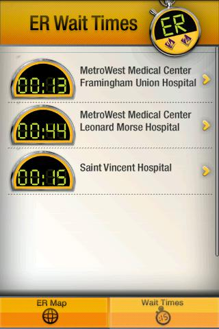 New England ER Wait Times - screenshot