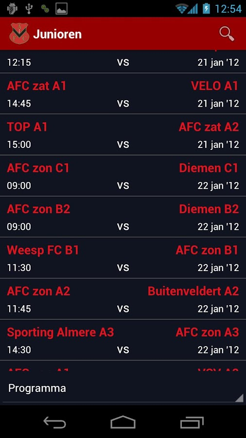 SportclubApp AFC - screenshot