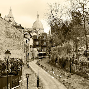 Street by Alin Gavriluta - City,  Street & Park  Historic Districts ( paris, old, black and white, street, france,  )