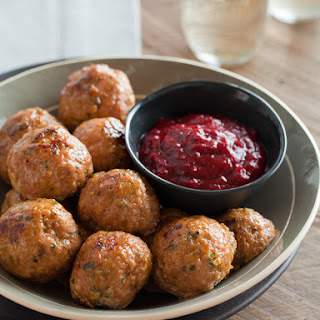 Herbed Turkey Meatballs with a Cranberry Barbecue Sauce.