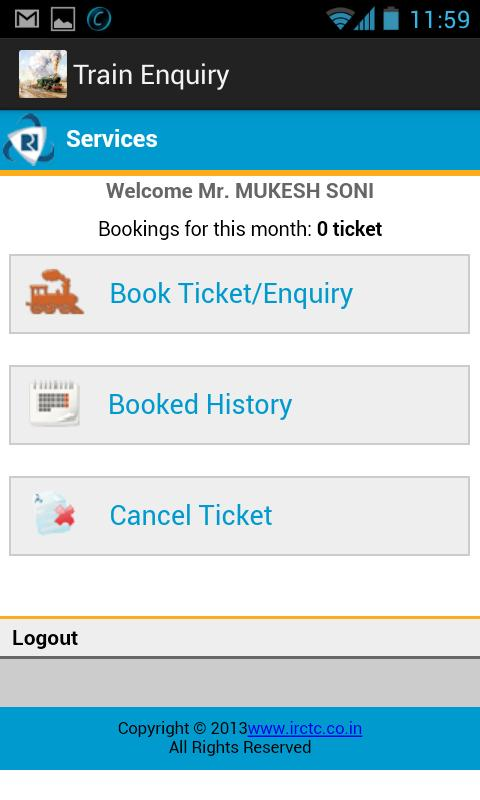 Train Enquiry, PNR, Booking - screenshot