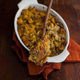Gluten-free cornbread stuffing with Sauteed Leeks
