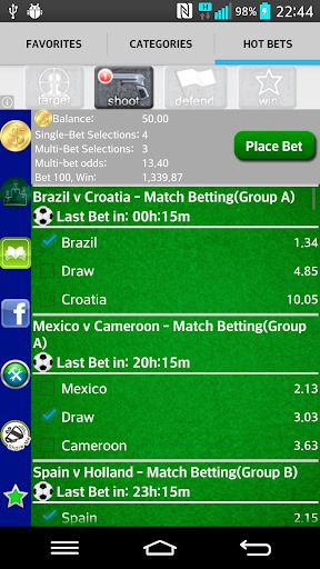 WorldCup Bets 2014