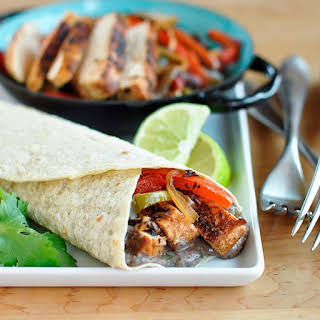 Chipotle Chicken Fajitas with Creamy Black Bean Spread.