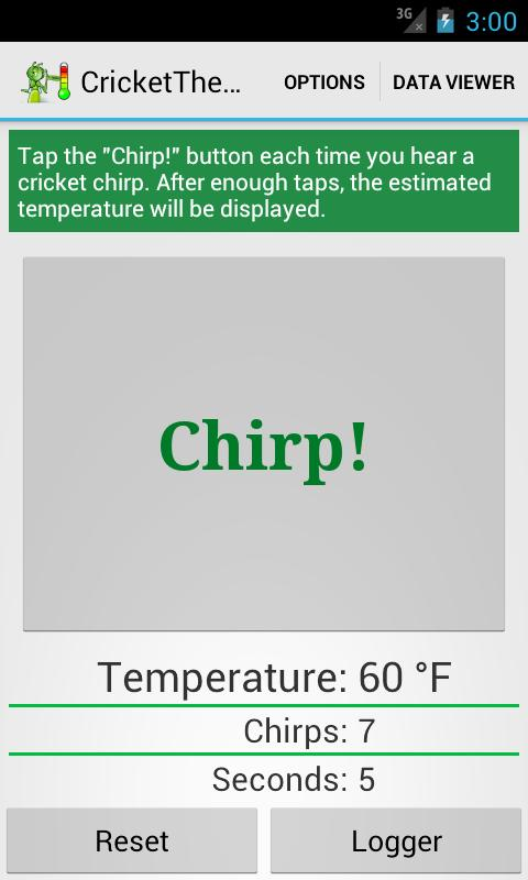 Cricket Thermometer - screenshot