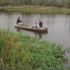 Pond in back with friends fishing by Terry Linton - Sports & Fitness Watersports ( , relax, tranquil, relaxing, tranquility )