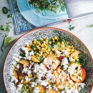 Green Rice Salad with Nectarines and Corn.