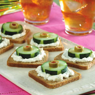 Cucumber and Olive Appetizers.