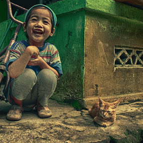Thanks For The Happiness by Muhammad Sholeh Ismail - Babies & Children Child Portraits ( cat, laugh, hdr, happy, children, happiness, house, smile, scooter,  )