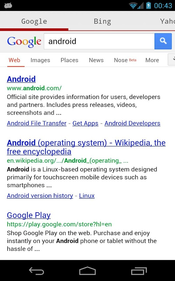 Search Google Yahoo Bing Wiki - screenshot