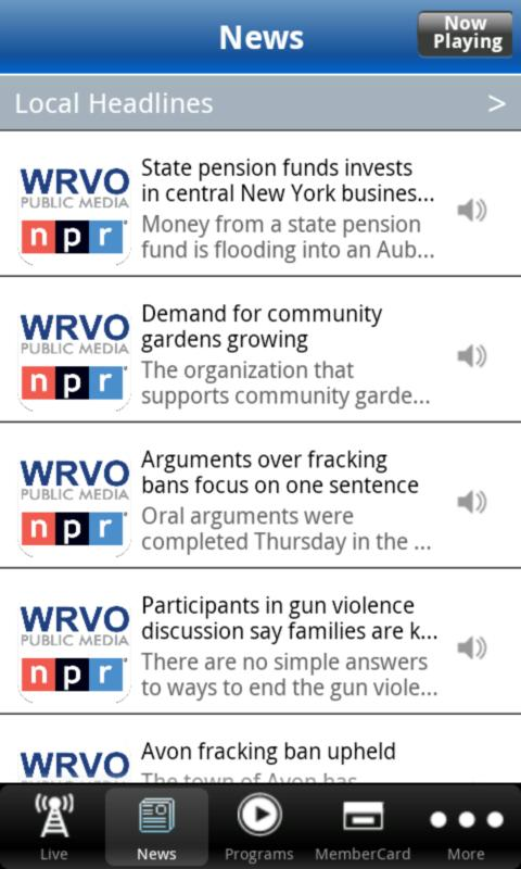 WRVO Public Radio App - screenshot