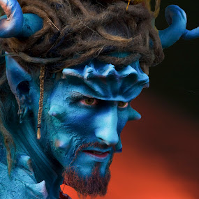 Devil man by Rick Sherwin - People Body Art/Tattoos ( blue man, blue, body art, devilish, fire, person, people, tattoo )