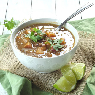 Slow Cooker Curried Lentil Sweet Potato Soup.
