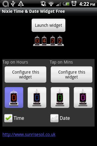 Nixie Time and Battery Widget- screenshot