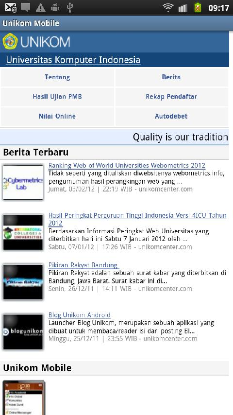 Unikom Mobile- screenshot