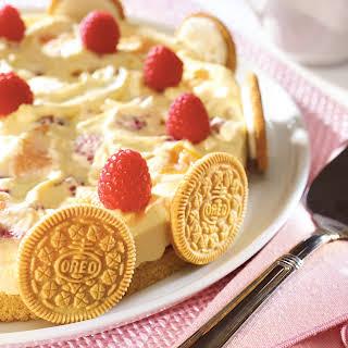Golden OREO Peach Melba Pudding Torte.