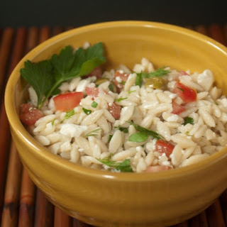 Orzo And Tomato Salad With Feta Cheese.