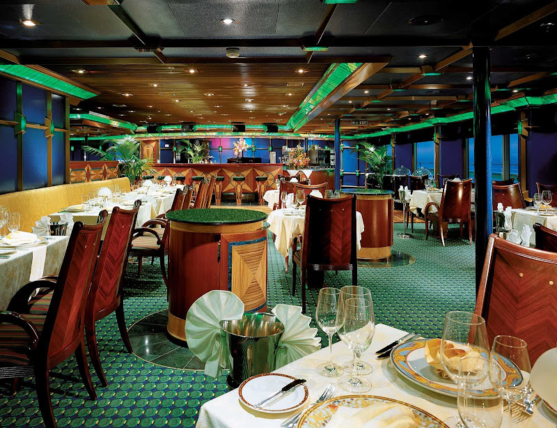 Carnival Glory's reservation-only Emerald Room Steakhouse serves a special menu of steaks, lamb and seafood.