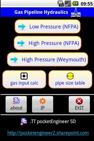 Gas pipe sizer - a PocketGas