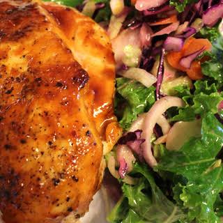 Glazed Chicken Breast With Kale Salad.