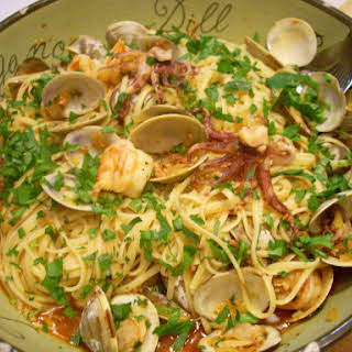 Linguini with Chorizo, Clams, Shrimp and Calamari.