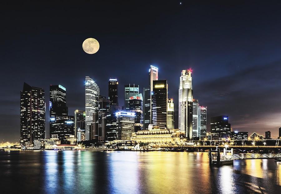 fullerton night by Seng Chan - Buildings & Architecture Office Buildings & Hotels ( night#light#fullerton#singapore#nature#landscape,  )