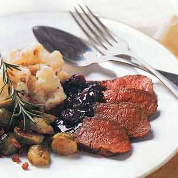 Pan-Seared Venison with Rosemary and Dried Cherries Recipe