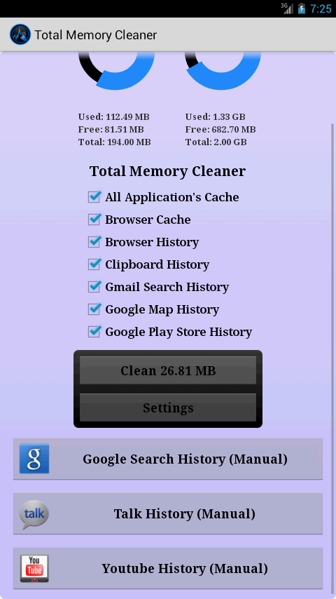 Total Memory Cleaner Free - screenshot