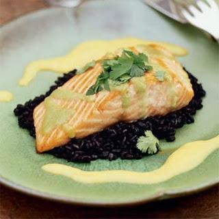 "Seared Wasabi-Glazed Salmon with ""Forbidden"" Rice"