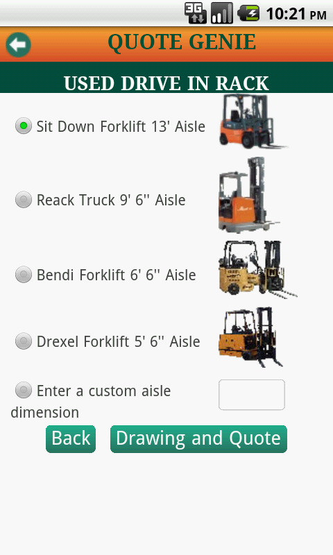 Warehouse Rack Quote Genie- screenshot
