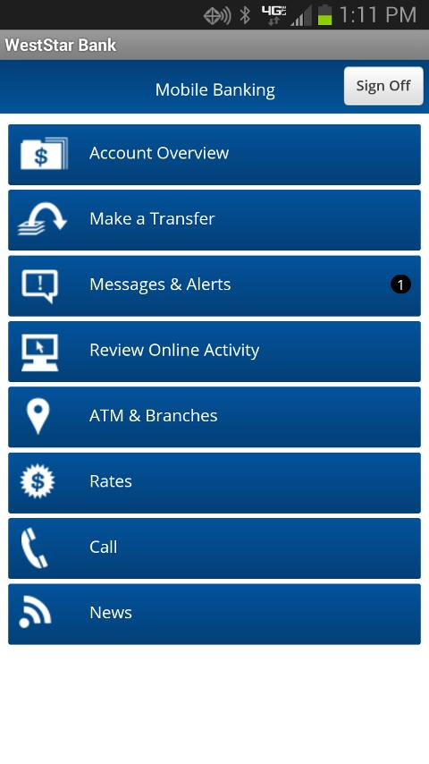 WestStar Bank Mobile Banking - screenshot