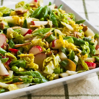 Crunchy Napa Cabbage Asian Slaw with Sugar Snap Peas, Radishes, Almonds (and Cilantro?).
