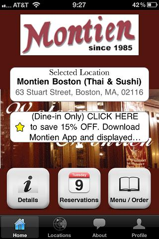 Montien Boston (Thai & Sushi)- screenshot
