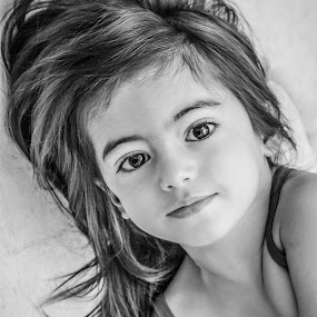 Ce matin... by Nathalie Gemy - Babies & Children Child Portraits ( child, girl, black eyes, beautiful, balck and white, smile, cute )