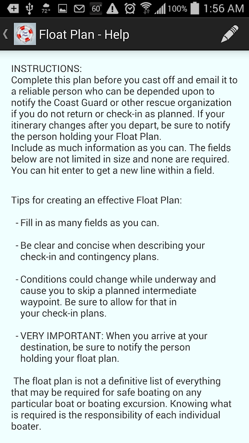Float Plan - screenshot