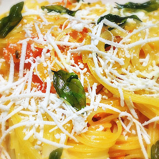 Capellini with Yellow Tomato Sauce and Fried Basil