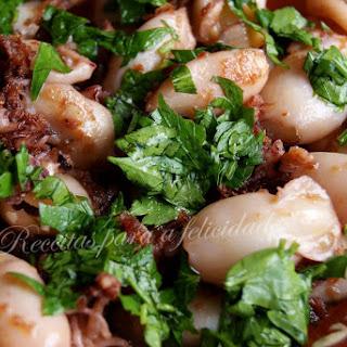 Pan Seared Garlic Squid.