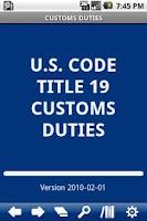 Screenshot of USC T.19 Customs Duties