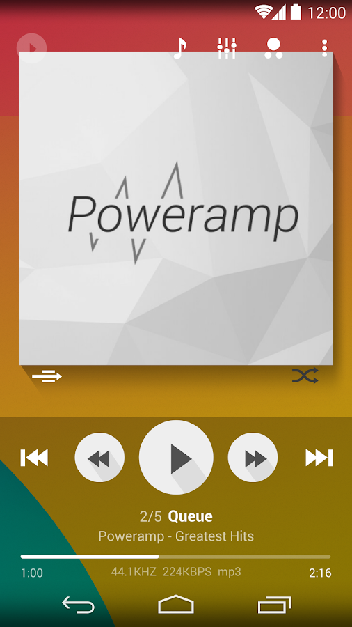 Poweramp skin Flat Transparent - screenshot