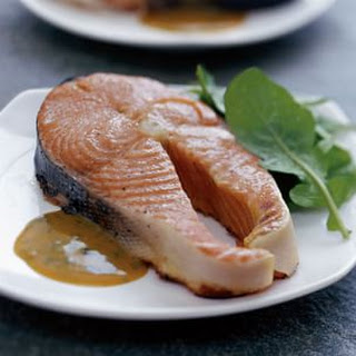 Maple-Smoked Salmon Steaks with Maple-Mustard Sauce.
