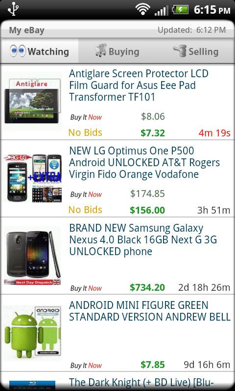 Droid Auctions for eBay AdFree - screenshot