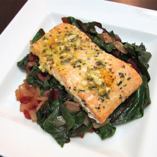 Baked Salmon with Swiss Chard