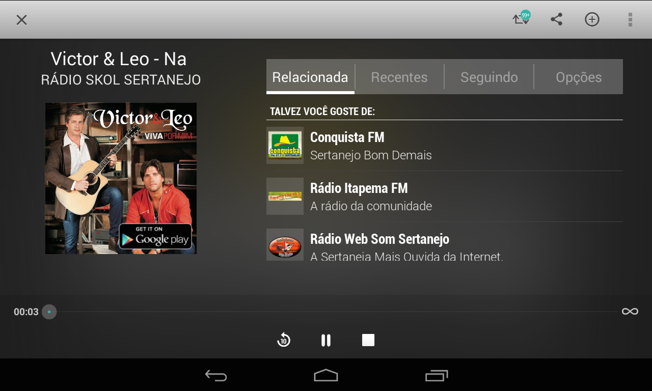 TuneIn Radio– captura de ecrã
