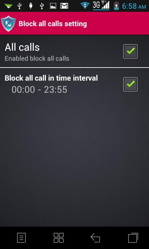 block call and sms- screenshot