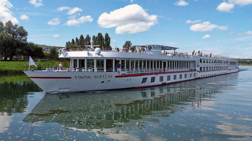 Viking Neptune cruising down the Saone between Tournus and Chalon sur Saone, France.