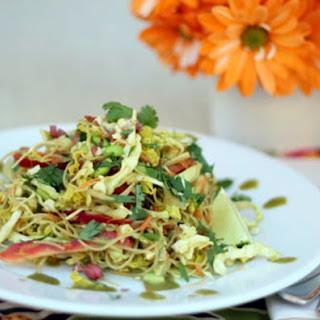Thai Pasta Salad with Creamy Cilantro Peanut Dressing.