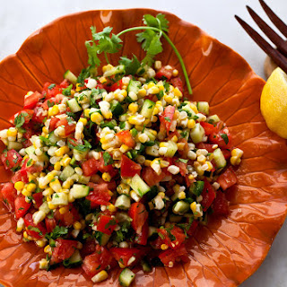 Tomato, Cucumber and Corn Salad.